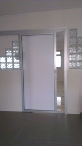 aluminium top hanging glass door