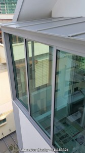 Enclosed Balcony with Firerated Aluminium Composite Shelter and Sliding Glass Window