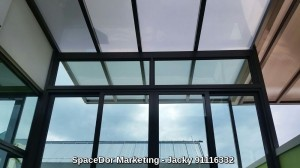 Attic Floor with Polycarbonate Shelter and Sliding Glass Door