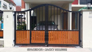 Aluminium Drive Way Gate and Fencing with Grain Design