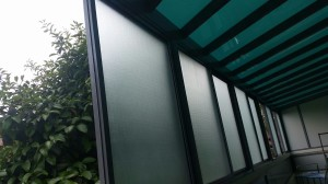 Back Yard with Powder Coated Aluminium Structure Polycarbonate Shelter and Sliding Window Plus Top Hunging Sliding Door