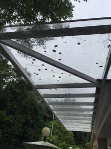aluminium composite roofing enclosed with aluminium window top track sliding door