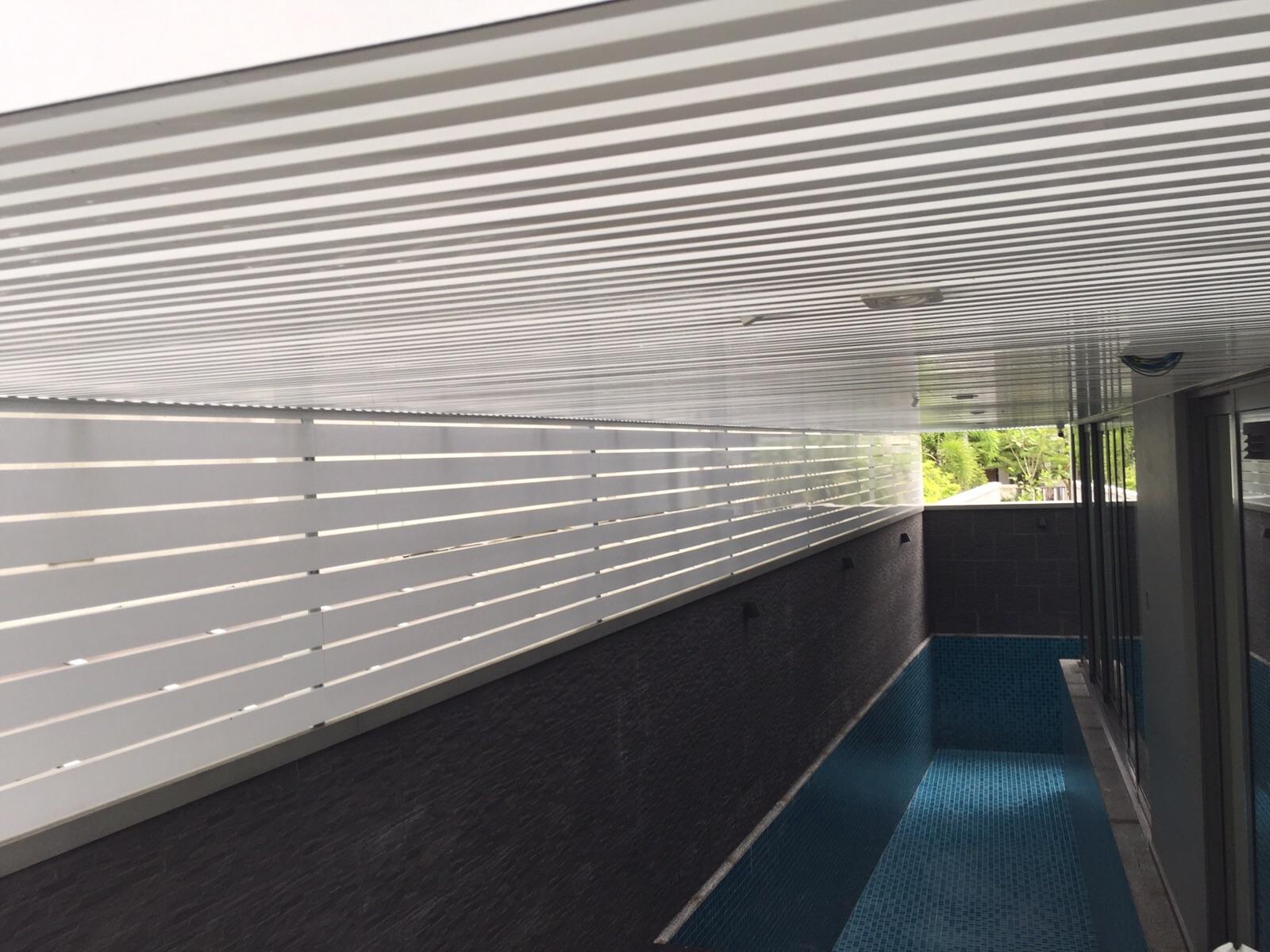 To Enclose Swimming Pool Area With Aluminium Trellis Wall