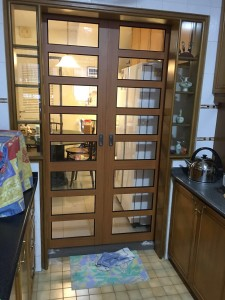 Top hanging aluminium sliding door with wood grain finished
