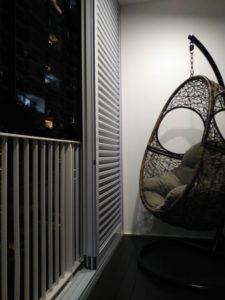 Privacy corner with Spacedor aluminium louver