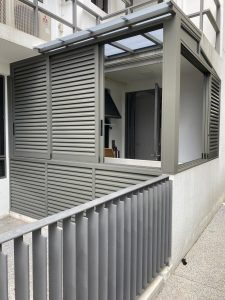 Aluminium louver for ground floor unit
